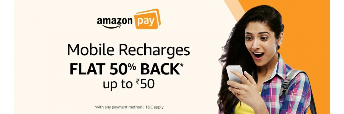 Amazon Pay: Recharges 50% Cashback offer