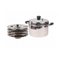 Pepperfry Offers and Deals Online - Silver Stainless Steel 4 Plate Induction Compatible Idli Cooker