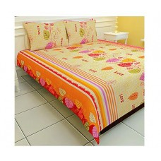ShopClues Offers and Deals Online - Carah Exclusive Printed Cotton Double Bedsheet With Two Pillow Covers