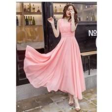 ShopClues Offers and Deals Online - Westchic Mclea PINK V-NECK Long Dress