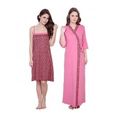 ShopClues Offers and Deals Online - Claura Women's Floral Print Long Nighty With Robe