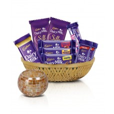 Deals, Discounts & Offers on Grocery & Gourmet Foods - Cadbury Assorted Chocolates Diwali Tokri, 361g - With Tea light