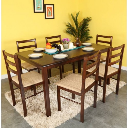 Forzza Peter Four Seater Rectangular Dining Table Set (Wenge