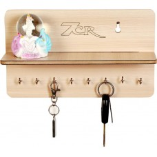 7CR F shelf Wooden Key Holder  (8 Hooks)