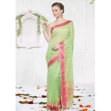 Craftsvilla Offers and Deals Online - Craftsvilla Green And Pink Color Cotton Silk Partywear Saree