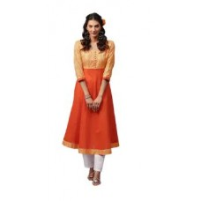 Paytm Offers and Deals Online - Libas Cotton Orange Anarkali Solid Kurta