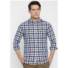 Myntra Offers and Deals Online - U.S. Polo Assn. Men White & Blue Checked Tailored Fit Casual Shirt