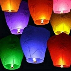 Deals, Discounts & Offers on Home Decor & Festive Needs - Swandeals Multicolor Paper Sky Lantern  (20 cm X 12 cm, Pack of 10)