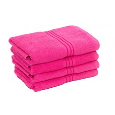 Deals, Discounts & Offers on  - HomeStrap Classic 4 Piece 380 GSM Cotton Hand Towel Set, Dark Pink