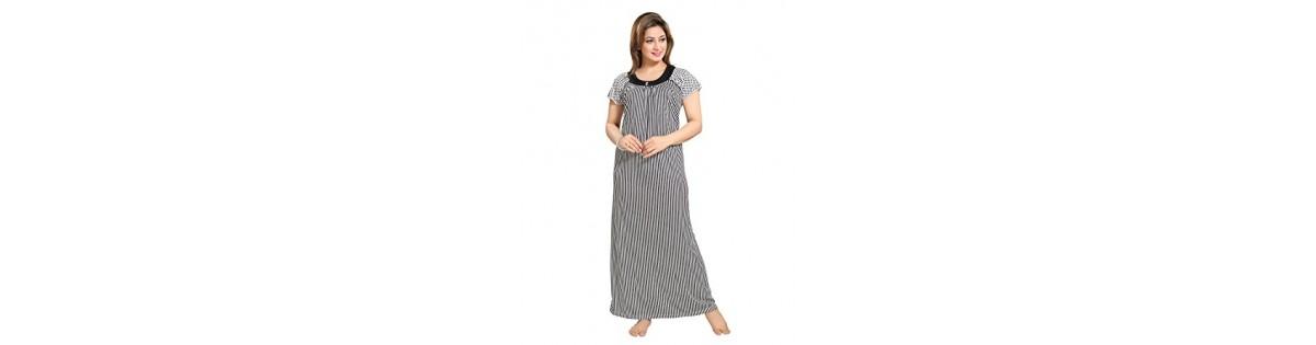 f3bf12a2b1 Tucute Women Beautiful Line Print Black Nighty  Night Dress (Free Size) -  Deals