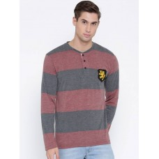 Deals, Discounts & Offers on Men Clothing - Teesort Striped Men's Henley Red T-Shirt