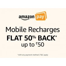Deals, Discounts & Offers on Recharge - Amazon Pay: Recharges 50% Cashback offer