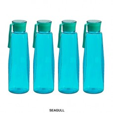 Deals, Discounts & Offers on Home & Kitchen - Steelo Seagul Plastic Water Bottle, 1 Litre, Set of 4, Turkish Blue