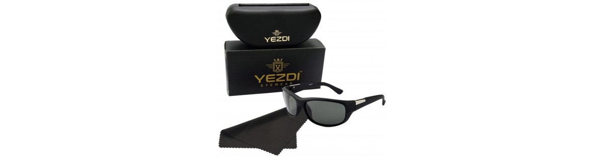 5f61355374 Yezdi Black Sports Wrap Around Sunglass with UV 400 Glass Lens - Deals