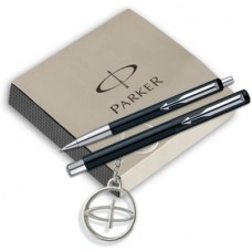 Deals, Discounts & Offers on  - Parker Vector Standard Roller Ball pen +Ball pen Black body with free Parker Key Chain Pen Gift Set
