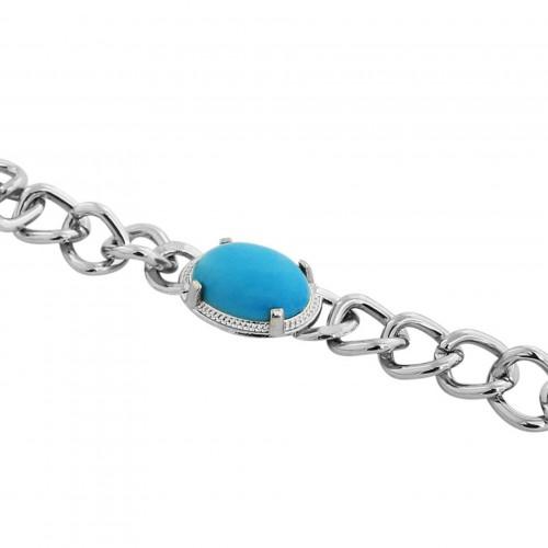Salman Khan Inspired Turquoise Blue Silver Bracelet For Men Deals