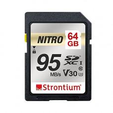 Deals, Discounts & Offers on  - Strontium Nitro 64GB SD SDXC UHS-I U3 V30 Class 10 Flash Memory Card (SRN64GSDU3QR)