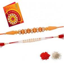 Deals, Discounts & Offers on  - DunkstonScented Greeting Card Set(2 Rakhi 1Greeting Card 1Roli 1 Chawal)