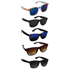 Deals, Discounts & Offers on  - Silver Kartz UV 400 Protection Unisex Sunglasses (aio5, Black) - Pack of 5