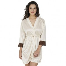 Deals, Discounts & Offers on  - Klamotten Beige Satin Robe with Lace