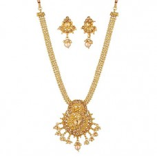 Deals, Discounts & Offers on Earings and Necklace - Apara Dangling Ball Chain Necklace Set with LCT Stones and Pearl Drop