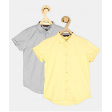 Deals, Discounts & Offers on Baby & Kids - ProvogueBoys Solid Casual Shirt(Pack of 2)