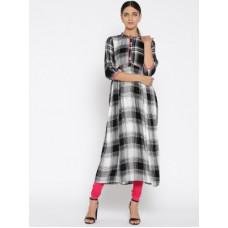 Deals, Discounts & Offers on  - AureliaWomen Checkered Viscose Blend A-line Kurta(Black)