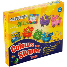 Deals, Discounts & Offers on Toys & Games - Miss & Chief Colours & Shapes Train Puzzles with Colouring Book & Crayons(28 Pieces)