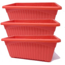 Deals, Discounts & Offers on  - Oshi Greens Rectangle Flower Pot Plant Container Set(Pack of 3, Plastic)