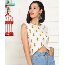 Deals, Discounts & Offers on Laptops - [Size XL] AnmiCasual Sleeveless Printed Women White Top