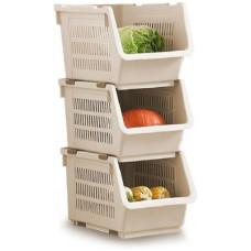 Deals, Discounts & Offers on  - Lyrovo Plastic Fruit & Vegetable Basket(Beige)