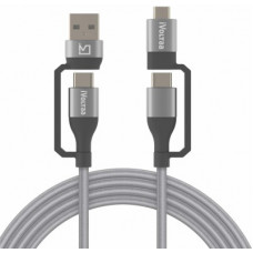 Deals, Discounts & Offers on Mobile Accessories - iVoltaa Type C 4in1 1 m USB Type C Cable(Compatible with Android, Type C Devices, Grey, One Cable)