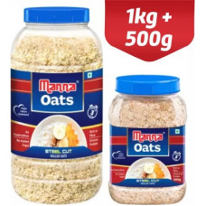 Deals, Discounts & Offers on Food and Health - Manna Oats - 1.5kg (1kg x 1 Jar and 0.5kg x 1 Jar)   Gluten Free Steel Cut Rolled Oats   High in Fibre & Protein   100% Natural   Helps Maintain Cholesterol. Good