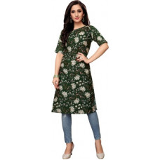 Deals, Discounts & Offers on  - [Size XL] SaaraWomen Printed Crepe Straight Kurta(Multicolor)