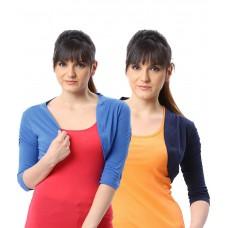 Deals, Discounts & Offers on Women Clothing - Espresso Multi Color Cotton Shrugs