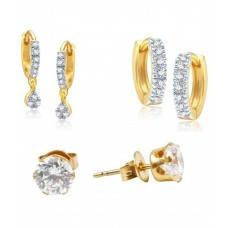 Deals, Discounts & Offers on Women - Flat 87% offer on Solitaire Studs - Combo Of 3