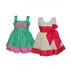 Deals, Discounts & Offers on Baby & Kids - Laocchi Chanderi Cotton Partywear Frocks Combo - Set of 2
