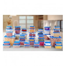 Deals, Discounts & Offers on Home & Kitchen - Flat 62% offer on All Time Polka Blue Storage Container – Set of 42
