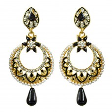Deals, Discounts & Offers on Women - Surat Diamonds Traditional Black & White Stone & Gold Plated Chandbali Enamelled Earrings