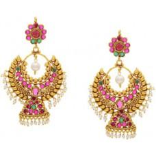 Deals, Discounts & Offers on Women - Flat 74% offer on Prisha Yellow Gold Pearl Alloy Chandelier Earring