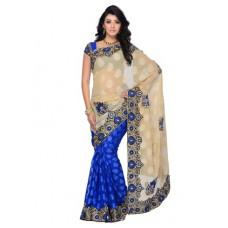 Deals, Discounts & Offers on Women Clothing - Four Seasons Cotton Saree - Beige & Blue
