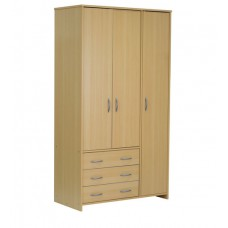 Deals, Discounts & Offers on Home Appliances - Narihina Three Door Wardrobe with Three Drawers in Beech at 57% off