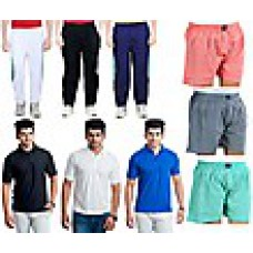 Deals, Discounts & Offers on Men Clothing - Combo of Men 3 T-shirts, 3 Lowers with 3 Boxer Shorts at Rs 1399 only