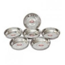 Deals, Discounts & Offers on Home Appliances -  64% off on Shubham Designer Steel Plates Dishes 6 Pcs Set 12 Cm Medium