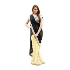 Deals, Discounts & Offers on Women Clothing - Rasika Celebrity Embellished half & half Black & Beige Saree