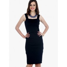 Deals, Discounts & Offers on Women Clothing - Faballey Navy Blue Colored Solid Bodycon Dress