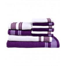 Deals, Discounts & Offers on Home Appliances - Vintana White And Purple Cotton Bath Towel - Set Of 10