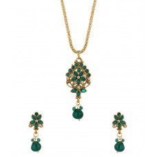 Deals, Discounts & Offers on Earings and Necklace - Voylla Pendant Set With Chain Embellished With Green Colored Stones