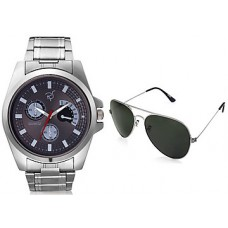 Deals, Discounts & Offers on Men - Rico Sordi Silver Stainless Steel Men Watch And Sunglasses Combo