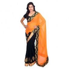 Deals, Discounts & Offers on Women Clothing - Fabdeal Sitara Half & Half Orange & Black Embroidred Saree